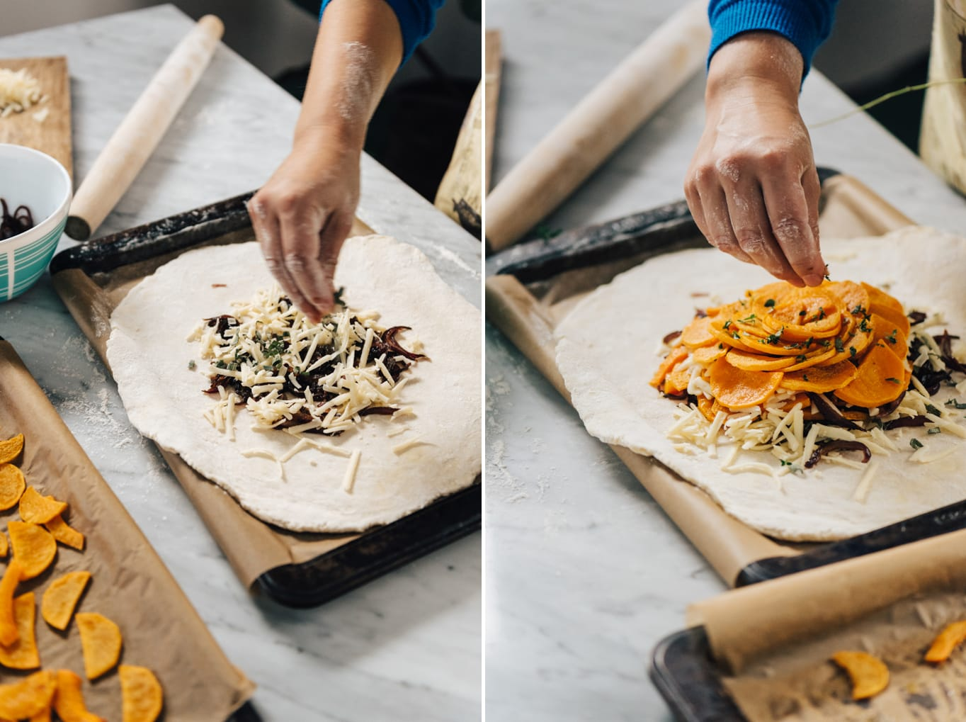 Two images showing how to layer a butternut squash galette.