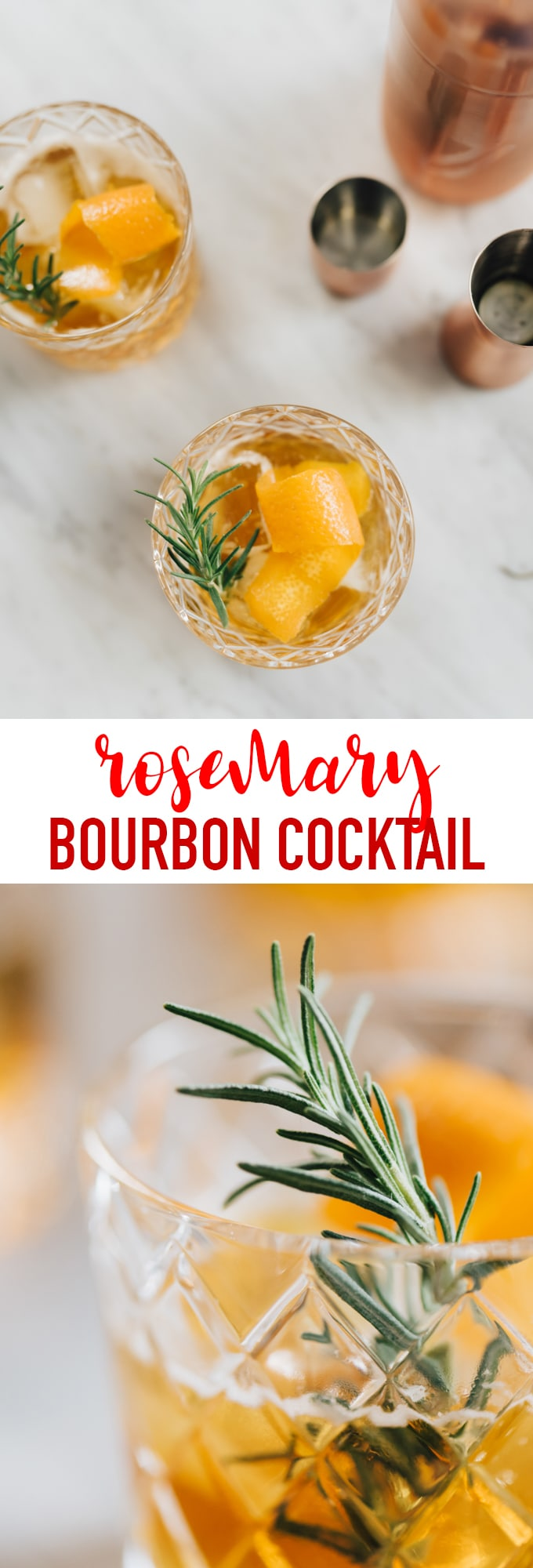 This honey bourbon cocktail with rosemary simple syrup is just the right amount of sweet and savory to share with friends during a cozy and cool autumn evening cocktail hour. The rosemary simple syrup is subtle but distinctive and worth the extra few minutes of prep. #bourbon #cocktail #autumn #fall