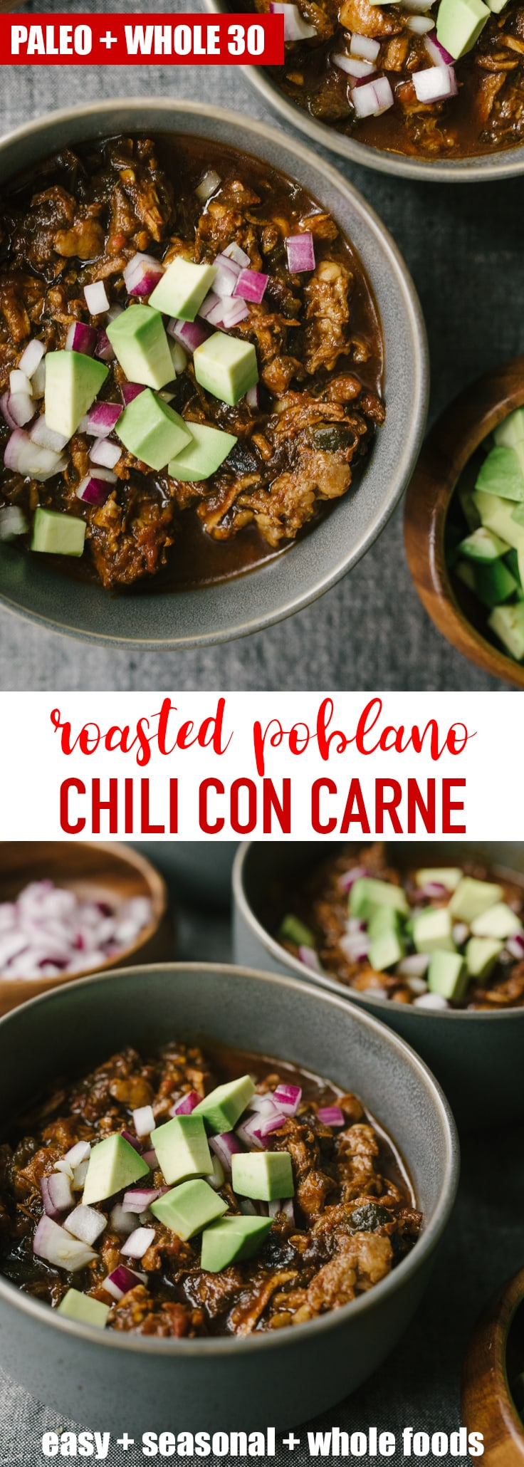 This recipe for paleo chili con carne is a rich and bone-warming addition to your cold weather rotation. This version is slowly simmered with poblanos, jalapeños, and an adjustable spice blend until the meat is fall-apart tender. It's a paleo and whole 30 compliant crowd-pleaser! #wholefood #realfood #paleo #whole30