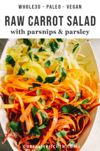 A platter of shaved raw carrot salad with parsnips, parsley, and champagne vinaigrette.