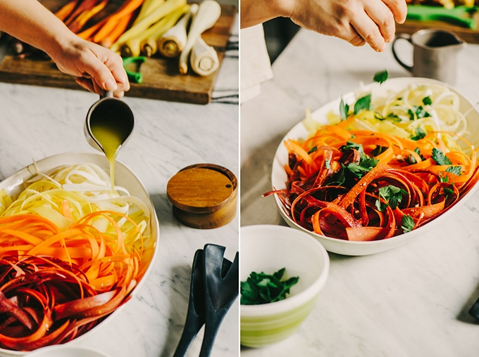 This raw carrot salad with parsnips is a sweet, crunchy and refreshing whole food recipe. It comes together quickly and pairs perfectly with pulled pork and avocado for easy, weeknight paleo tacos. #paleo #whole30 #realfood #wholefood