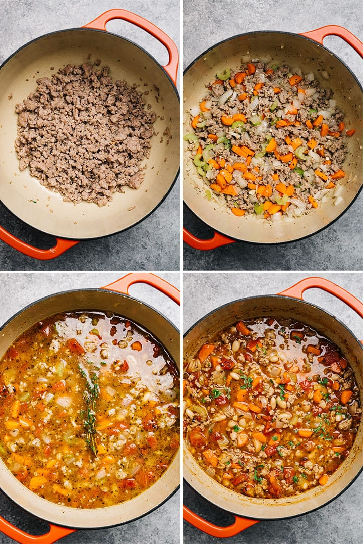 A collage showing how to make italian sausage soup.