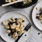 Roasted Cauliflower with Pine Nuts, Raisins, and Olives