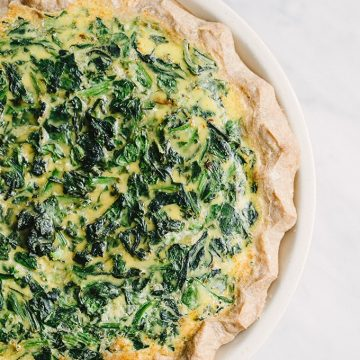 Spinach and Onion Quiche with Whole Wheat Pastry Crust