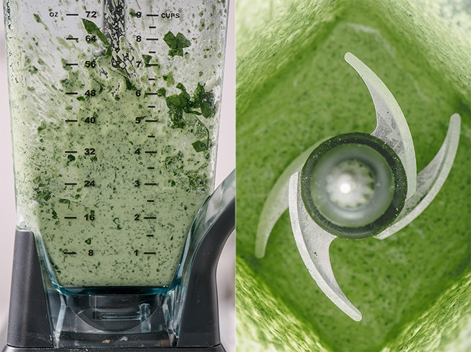 Left - a side view of a blender with partially mixed ricotta spinach pesto. Right, an overhead view of creamy spinach pesto in a blender.