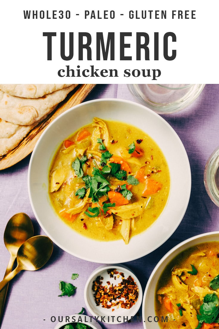 Crank your paleo soup game up a notch with this turmeric chicken soup! The tang and spice of fresh turmeric root really shine in this easy soup recipe. It's naturally gluten-free, paleo, and Whole30 compliant and a delicious way to use leftover roasted chicken. This healthy fresh turmeric root soup comes together in just 45 minutes - the perfect winter dinner! #turmeric #soup #paleo #whole30 #cleaneating #dinner #healthyrecipes