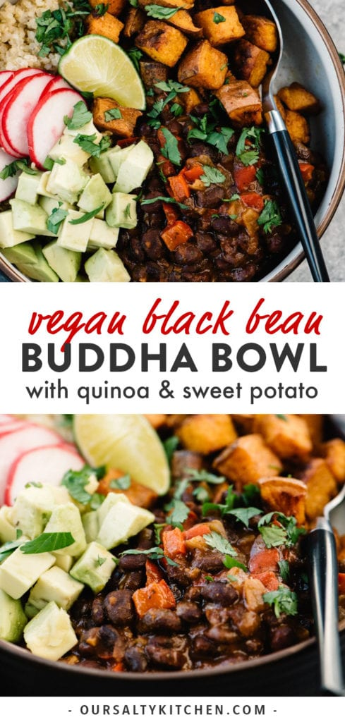 Pinterest image for vegan black bean buddha bowls with quinoa and sweet potatoes.