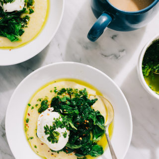 This gluten-free breakfast polenta is what food dreams are made of - creamy polenta, garlicky sauteed greens, a silky poached eggs, and tangy salsa verde. This is a warm, cozy, comforting breakfast polenta.