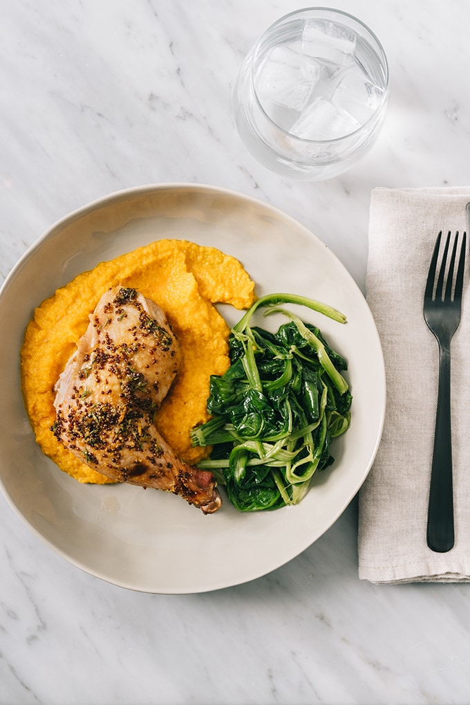 This honey mustard roasted chicken is an easy, delicious weeknight meal that comes together quickly with little prep time. Adding root vegetables to the sheet pan makes preparing a nutritious side dish a snap. Paleo and Whole30 friendly!