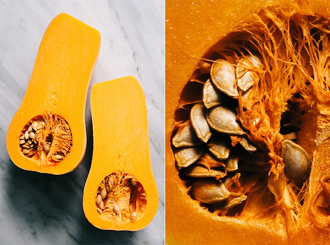 Left - a whole butternut squash sliced in half, about to be diced to prepare white bean ragout with butternut squash. Right - a detail image of butternut squash seeds.