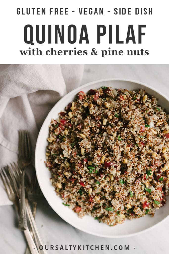 A bowl of vegan quinoa pilaf with cherries.