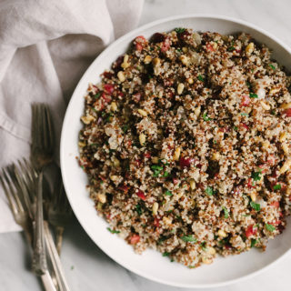 This cherry quinoa pilaf with pine nuts is an easy, seasonal, no fuss side dish. It's ready in less than 30 minutes and super customizable.