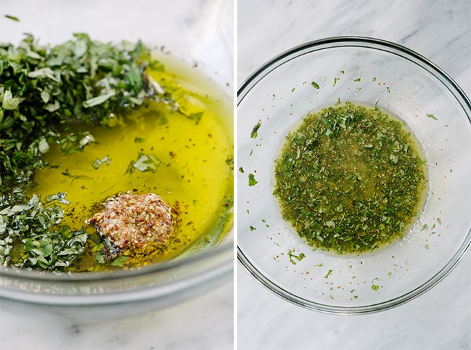 The ingredients for basil dressing before and after being whisked in a large glass mixing bowl.