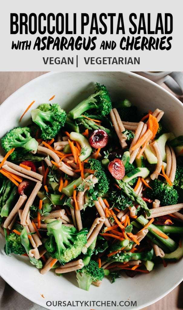 Looking to clean up your pasta salad game? This broccoli pasta salad is a healthy, vegetable packed version of the classic recipe. It's fast (30 minutes!), make ahead, and delicious both cold or room temperature. This is a fast and easy vegan side dish you'll want to bring to picnics, the neighborhood potluck, and so much more!!