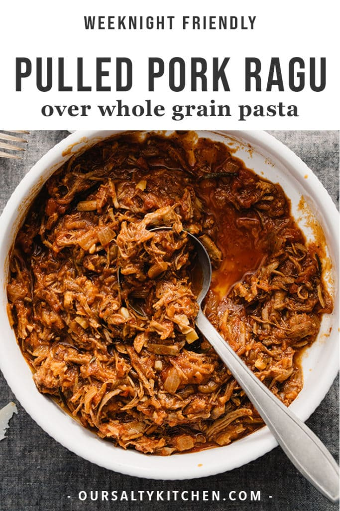 A bowl of pulled pork ragu simmered with tomatoes, using leftover pulled pork.