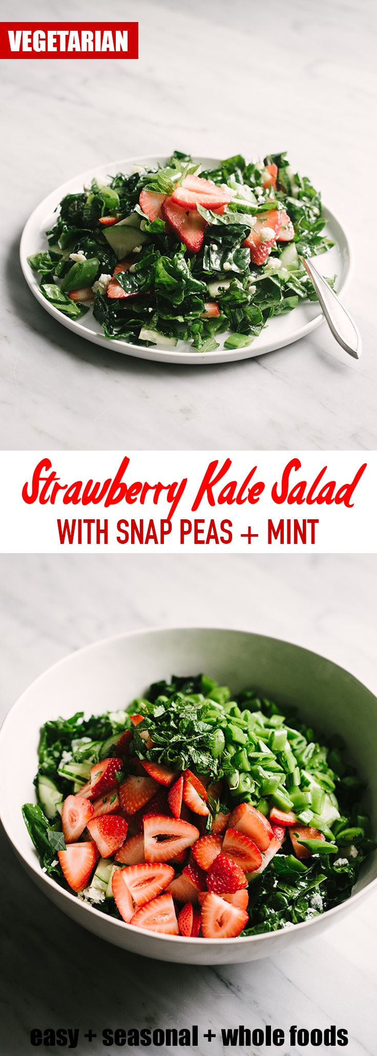 This strawberry kale salad is seasonal, nutritious, and refreshing. Make it meal by adding chicken or steak. Paleo, Whole 30, and vegan friendly. #salad #vegetarian #whole30 #spring #kale #strawberries