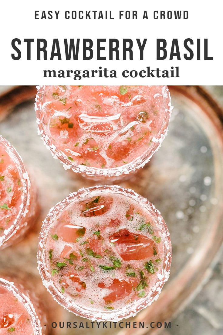 A tray of strawberry basil margarita cocktails.