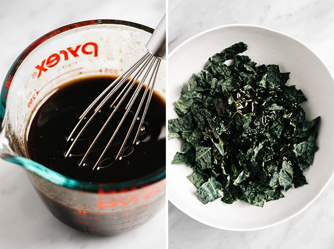 Balsamic vinaigrette in a glass mixing bowl, and a large bowl of kale drizzled with dressing.
