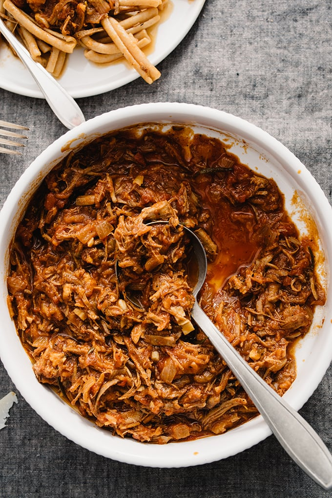 This easy pulled pork ragu - made with precooked pork - has been adapted from its lengthier parent version into a fast, comforting, weeknight meal. Paleo and gluten-free!