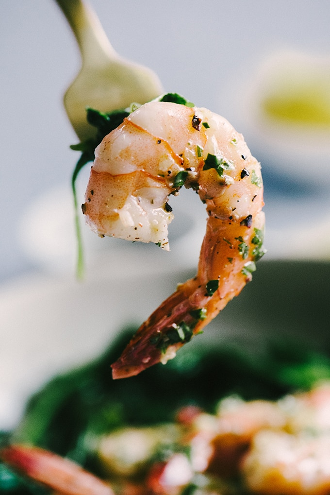 Lemon butter shrimp is one of my favorite whole foods recipes for making weeknights feel fancy. It's an easy and fast real food recipe for busy people everywhere. #healthy #wholefood #realfood