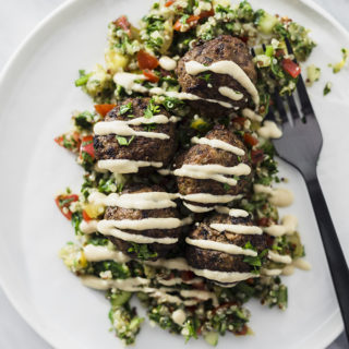 Lebanese beef kofta spiced meatballs are satisfying paleo snack or quick and easy whole foods dinner. Serve with cauliflower rice or quinoa tabbouleh for a complete meal. #paleo #wholefood #realfood #whole30