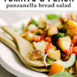 Peach panzanella is the best late summer whole food salad recipe. Juicy peaches and tomatoes, yeasty sourdough, fresh basil, and a champagne vinaigrette make summer produce shine. This is an easy recipe for a packed lunch or light dinner. #healthy #wholefood #realfood #eatclean #cleaneating
