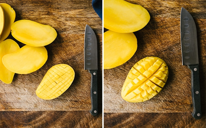 How to cut a fresh mango. Left, a mango slice scored into cubes. Right, the scored mango slice inverted to separate the cubes.