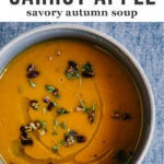 This roasted carrot apple soup is like a big hug - warm, comforting, and nourishing for the body and soul. It's a nutty and sweet fall soup recipe that's naturally paleo, whole 30 and gluten-free.