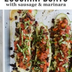 Tired of the same old paleo or low carb dinner recipes? Then you'll love these whole30 Italian sausage zucchini boats. Stuffed with Italian sausage and smothered with a super fast marinara sauce and fresh basil, these guys are healthy, easy, and crazy delicious.