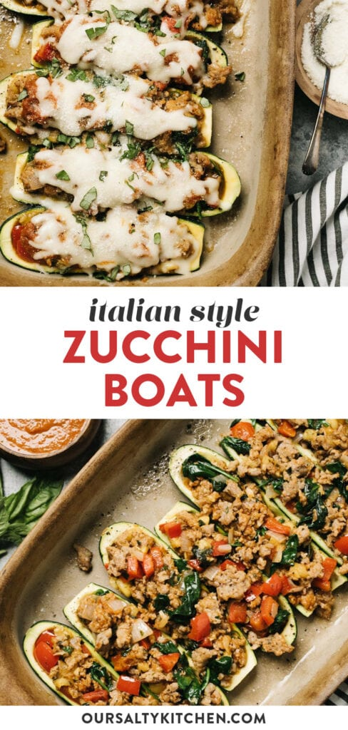 Pinterest collage for a recipe for italian sausage stuffed zucchini boats.