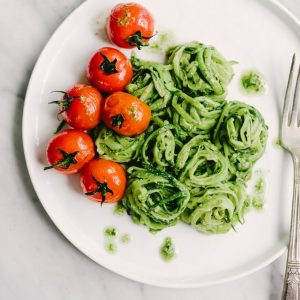 This aromatic, sweet, and mildly peppery tarragon pesto is the perfect pairing for sautéed zucchini noodles (zoodles!). It's a fast, easy and satisfying Paleo and Whole30 condiment. #healthy #wholefood #realfood #paleo #whole30
