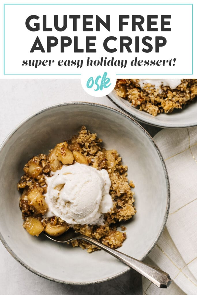 Pinterest image for an apple crisp recipe with gluten free topping.