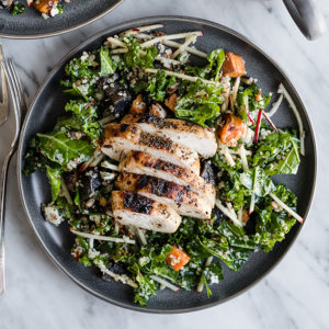 Kale Chicken Salad With Apples And Warm Potatoes Our Salty Kitchen