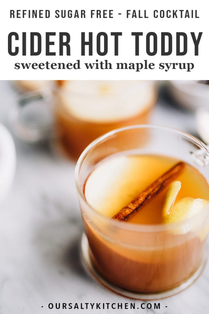 This apple cider hot toddy cocktail is warm, soothing, sweet and spicy. Use it to cure a soar throat, fight off a cold, or just for delicious cool weather sipping. It's a seasonal whiskey cocktail recipe that will warm you from head to toe.