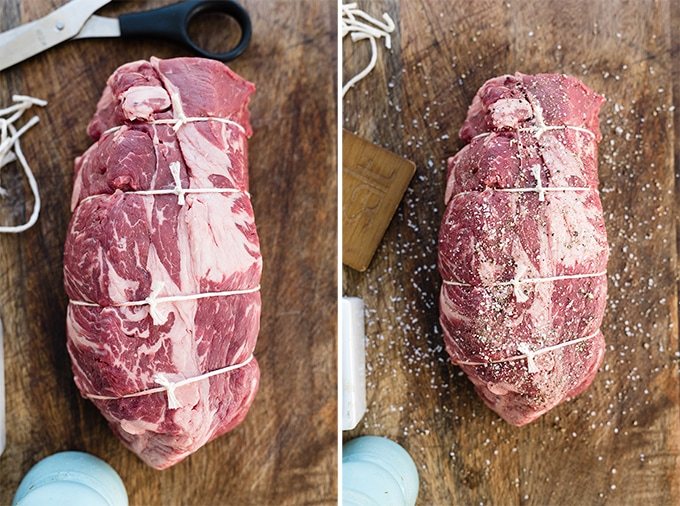 How to prepare a chuck roast for braising in a dutch oven. Left - a pot roast trussed with twine on a wood cutting board. Right, the trussed chuck roast dusted with salt and a pepper.