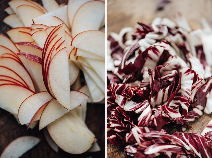 Left, sliced crispy apples, and right, sliced peppery radicchio, ready to be tossed into a roasted fennel salad.