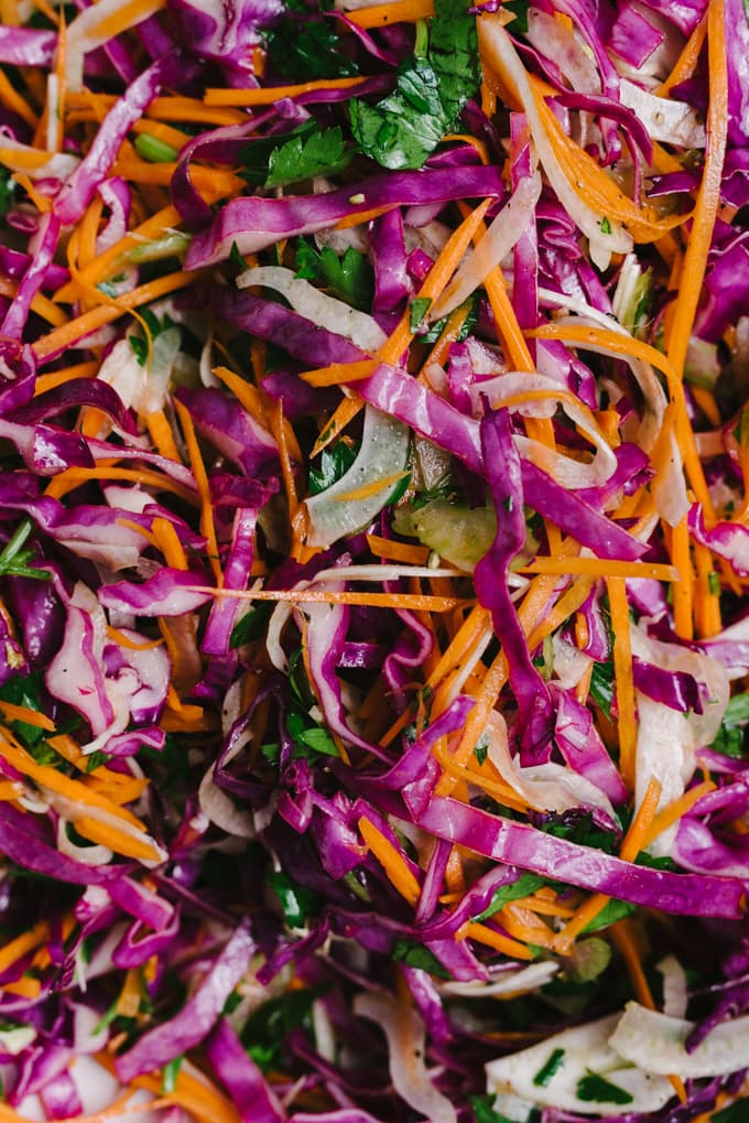 Close-up detail of apple cider vinegar coleslaw made with cabbage, carrots, fennel, and parsley.