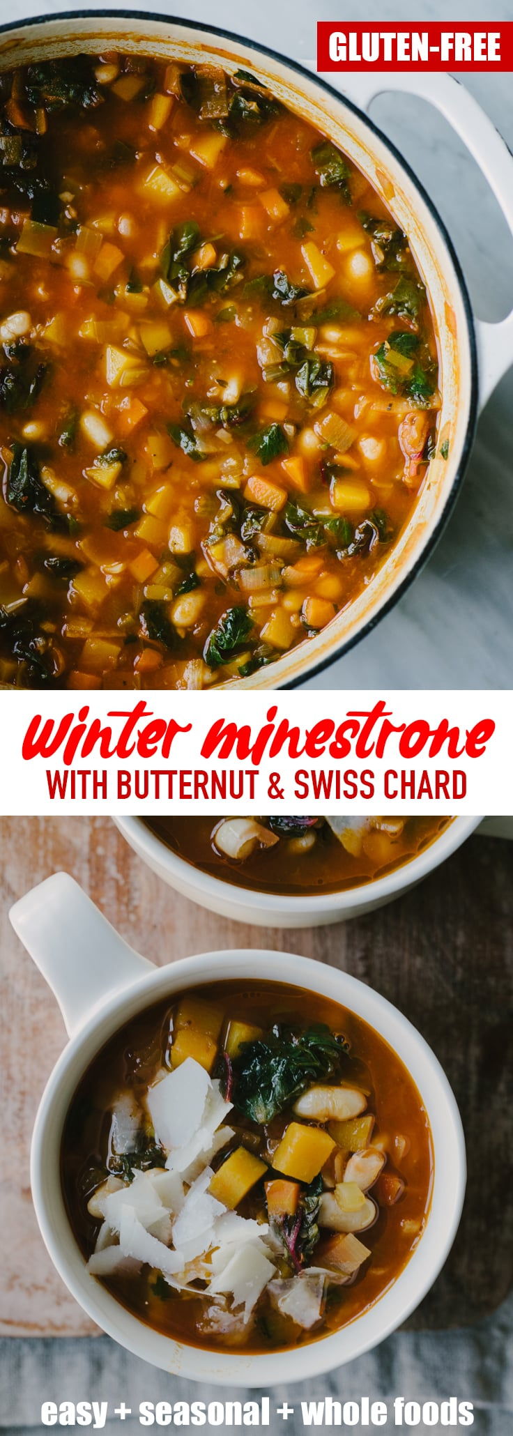 This gluten free winter minestrone soup recipe is packed with healthy, nutritious vegetables but is still rich and indulgent. It's perfect for chilly winter nights! #minestrone #soup #realfood #wholefoods #winter #recipe