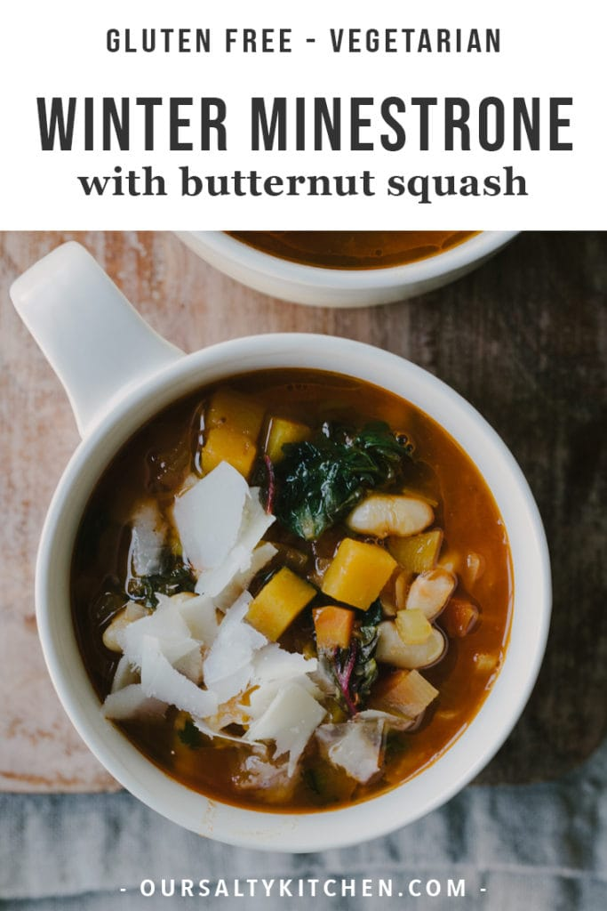 This gluten free winter minestrone soup recipe is packed with healthy, nutritious vegetables but is still rich and indulgent. It's naturally gluten free, vegetarian optional, and completely addictive. I dare you to eat just one bowl!
