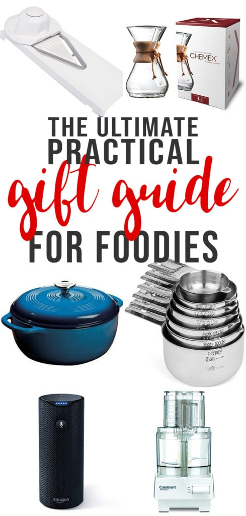 A collage of practical and useful gifts for home chefs.