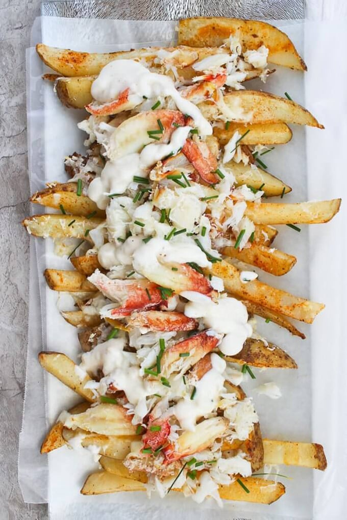 Crabmeat over homemade french fries - an easy holiday party appetizer.