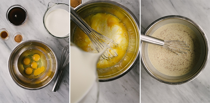 Three images showing how to prepare the custard for french toast bread pudding.