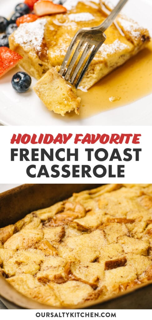 Pinterest collage for a french toast casserole breakfast recipe.