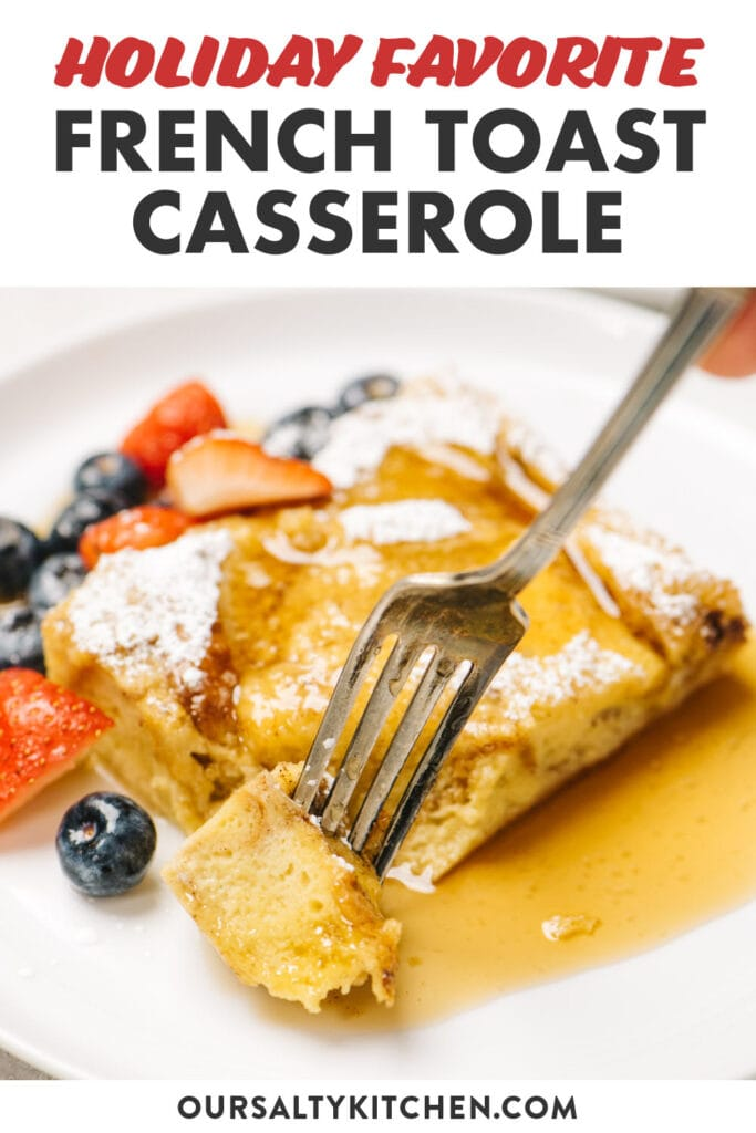 Pinterest image for a french toast casserole breakfast recipe.
