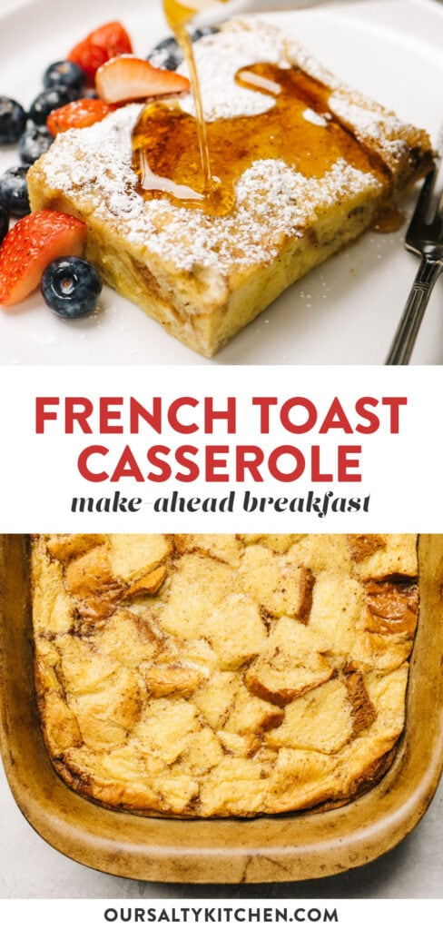 Pinterest collage for make-ahead french toast breakfast casserole.