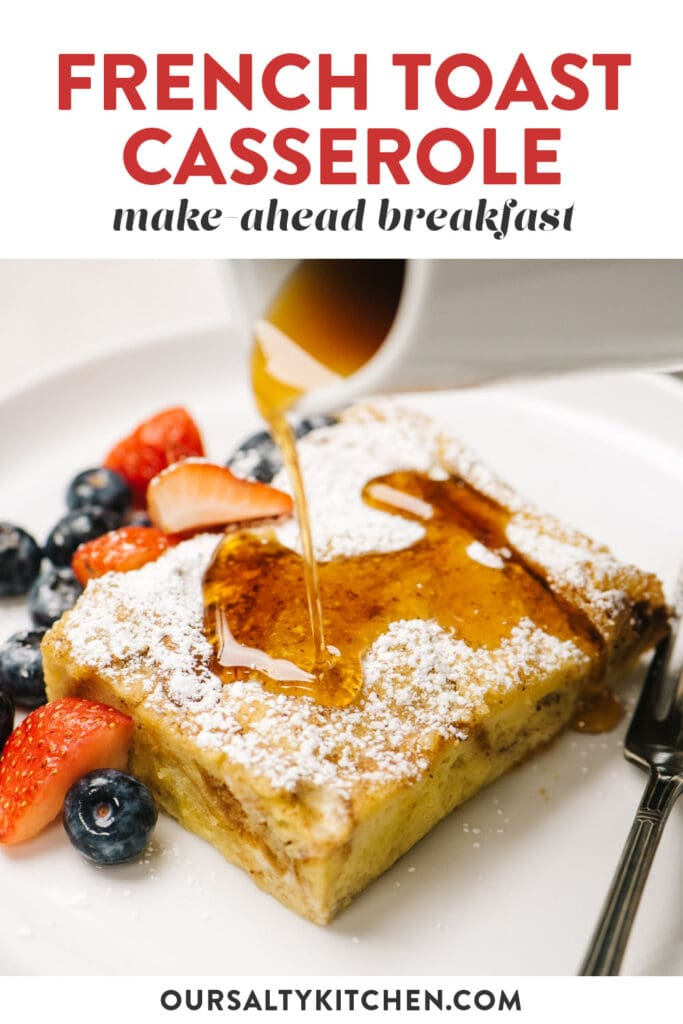 Pinterest image for make-ahead french toast breakfast casserole.