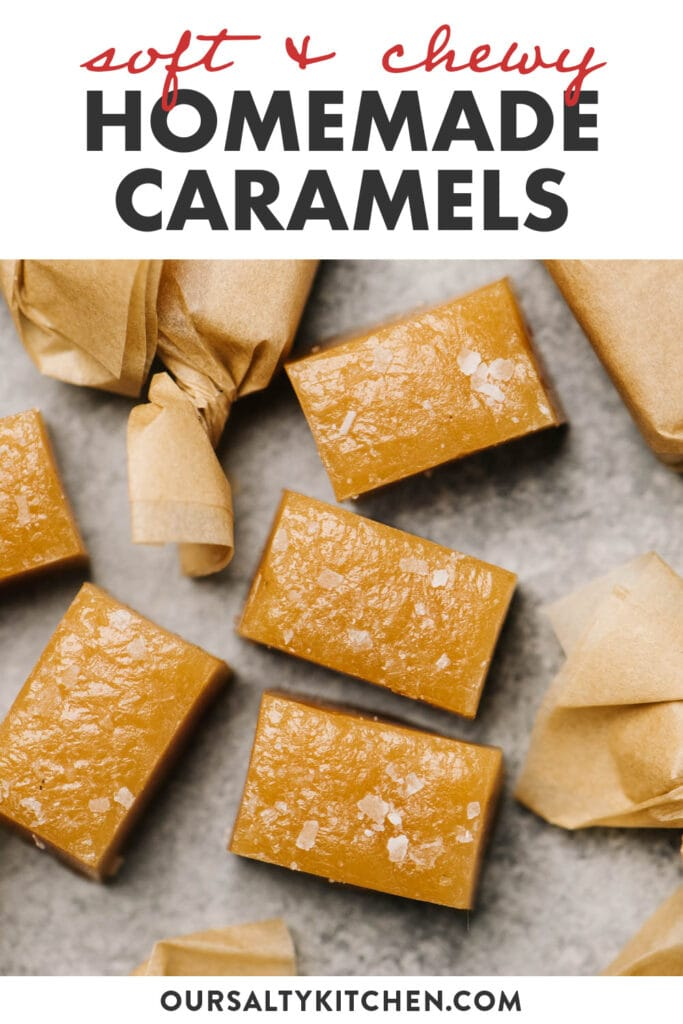 Pinterest image for homemade salted caramel candies.