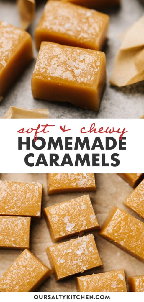 Pinterest collage for an easy caramel candy recipe.