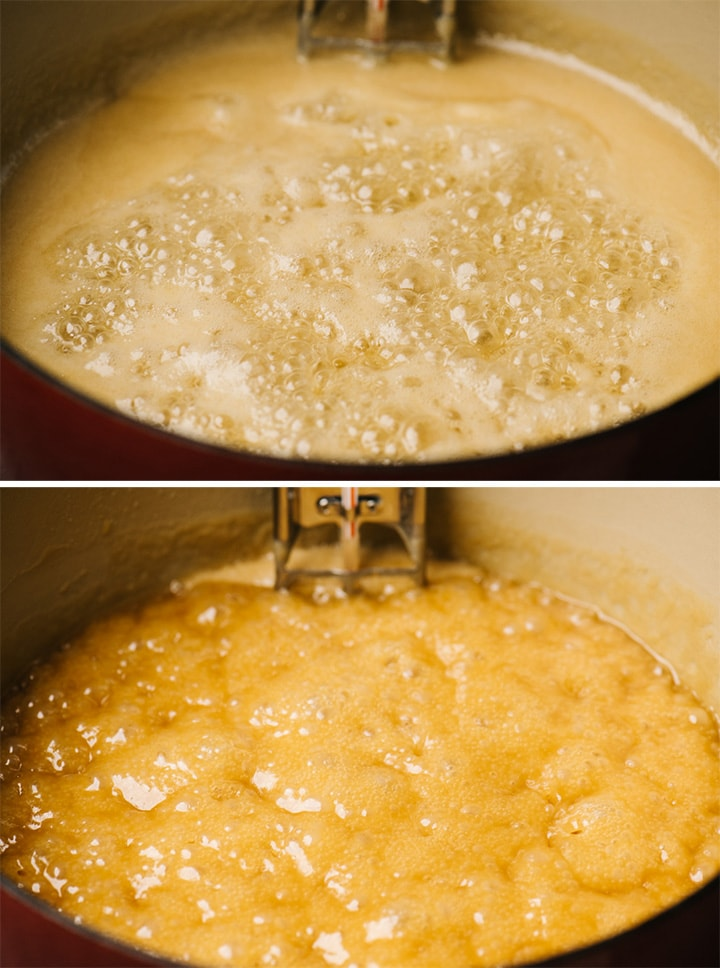 Top - caramel candy mixture in a red dutch oven just coming to a boil; bottom - caramels candy mixture deep in color and at the soft ball stage.