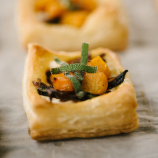 Mini Butternut Squash Tarts with Caramelized Onions and Ricotta